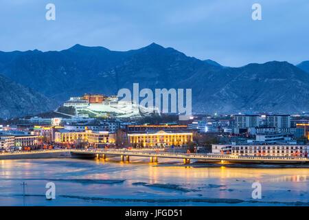 beautiful lhasa in nightfall - Stock Photo