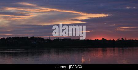 Sunset over lake Pfaffikon - Stock Photo