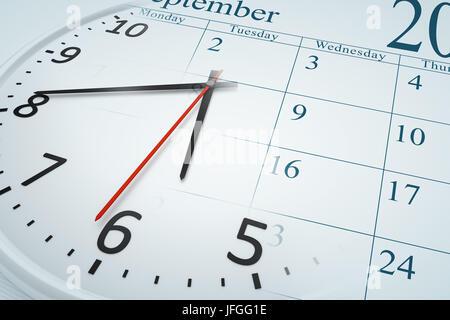 a composite of a clock and a calendar - Stock Photo