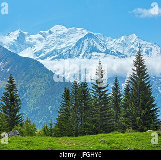 Mont Blanc mountain massif (view from Plaine Joux outskirts) - Stock Photo