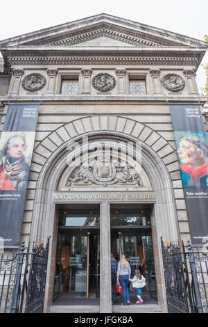 England, London, Trafalgar Square, National Portrait Gallery Entrance - Stock Photo
