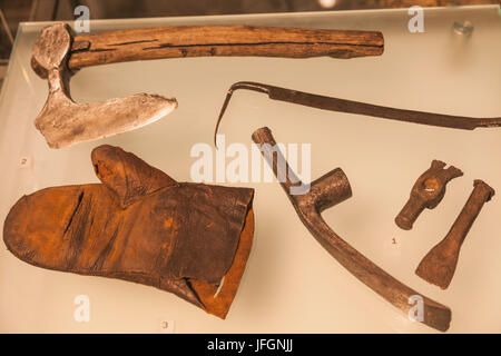 England, London, The City, Museum of London, Exhibit of Medieval Carpenter's Tools - Stock Photo