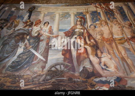 England, London, Whitehall, The Foreign Office, The Grand Staircase, Painting of Britannia Pacificatrix - Stock Photo