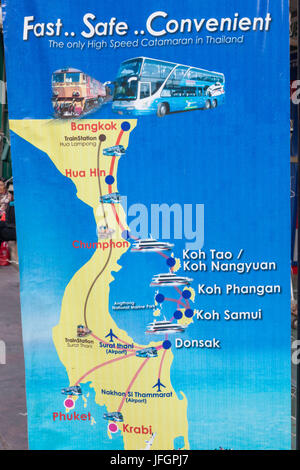 Thailand, Bangkok, Map of Southern Thailand Advertising Transport to Major Tourist Destinations - Stock Photo