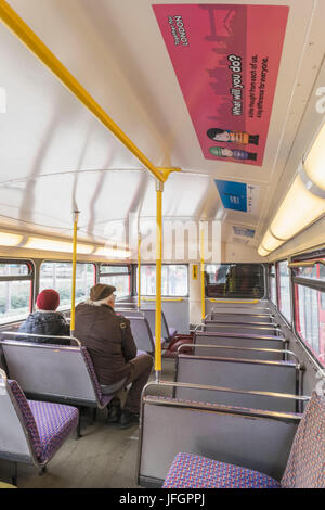 England, London, Interior of Routemaster Double Decker Bus - Stock Photo