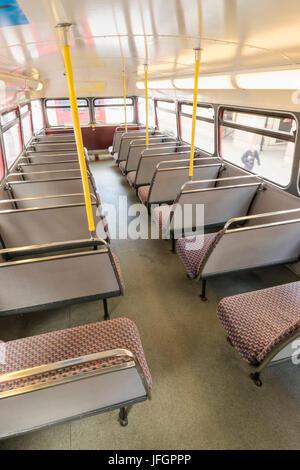 England, London, Interior of Routemaster Double Decker Bus - Stock Photo