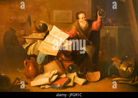 England, London, The Wellcome Collection, The Reading Room, 17th century Painting titled 'An Alchemist in His Laboratory' - Stock Photo