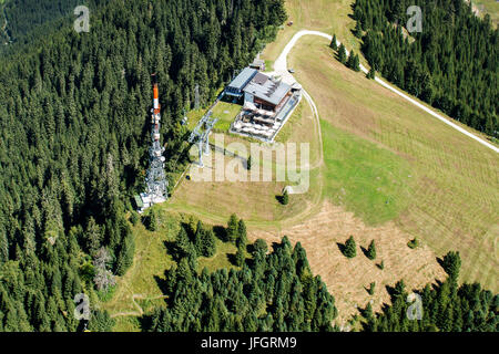 Alta Badia, Corvara, Col old top terminal, the Dolomites, aerial picture, high mountain valley, South Tirol, Italy - Stock Photo