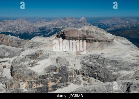 Sella group with Piz gust, dolomites, aerial picture, high mountains, Trentino, Italy - Stock Photo