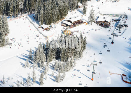 Skiing area Garmisch-Classic in the Hausberg, family-friendly child country, ski hut with snow bar, Drehmöser 9, - Stock Photo