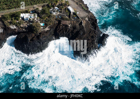 Summer cottages on the Atlantic coast with Puerto Naos, La Palma, aerial picture, Canary islands, Spain - Stock Photo