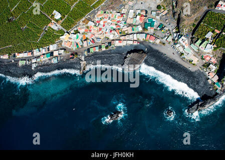 fishing village Playa Bombilla, La Palma, aerial picture, Canary islands, Spain - Stock Photo
