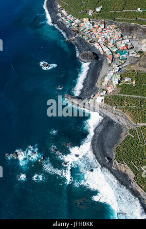 Playa Bombilla, fishing village on La Palma, aerial picture, Canary islands, Spain - Stock Photo