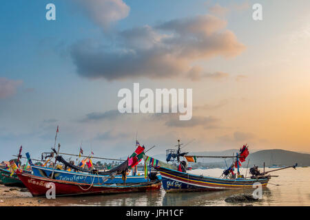 Longtail boats on the beach, sunrise in the Bo Phut Beach, island Ko Samui, Thailand, Asia - Stock Photo