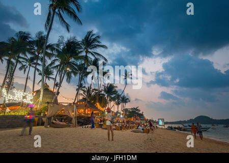 Beach Bar, tourists on the beach, Bo Phut Beach, island Ko Samui, Thailand, Asia - Stock Photo