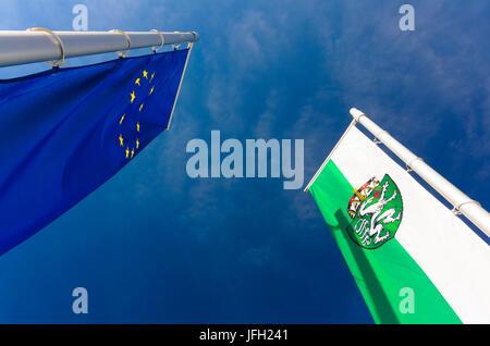 Flags of the European Union and Styria, Austria, Styria, Styrian Thermenland - Oststeiermark, Pinggau - Stock Photo