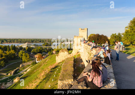 Fortress with the Kalemegdan park with view to the Castellan tower, Serbia, Belgrade - Stock Photo