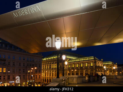 Albertina with the striking flight roof named 'Soravia Wing' by Hans Hollein, view to the Staatsoper, Austria, Vienna, - Stock Photo
