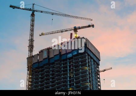 building site of the Tower DC I in the Danube city, Austria, Vienna 22., - Stock Photo
