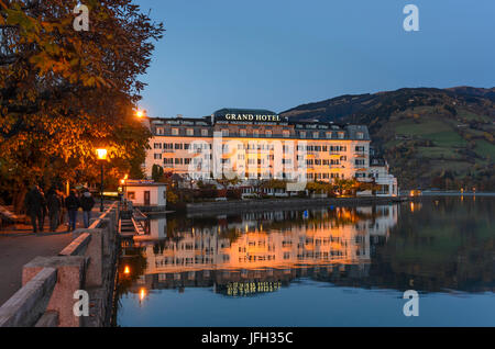 Grand Hotel in the Zeller See (lake), Austria, Salzburg, Pinzgau, Zell am See - Stock Photo