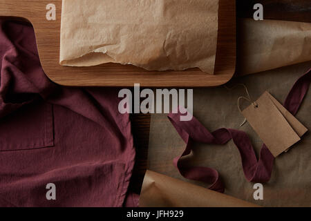 kitchen devices on wooden table - Stock Photo