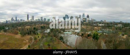 aerial view over park with atlanta city skyline georgia usa - Stock Photo