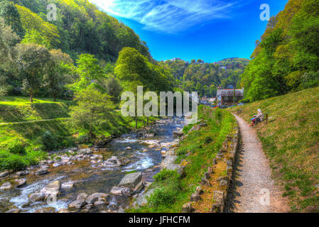Lynmouth Devon view to town from walk to Watersmeet along the river in hdr - Stock Photo