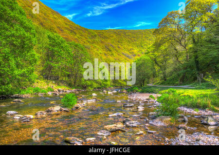 Lynmouth Devon walk to Watersmeet along the river Lyn England UK in hdr - Stock Photo