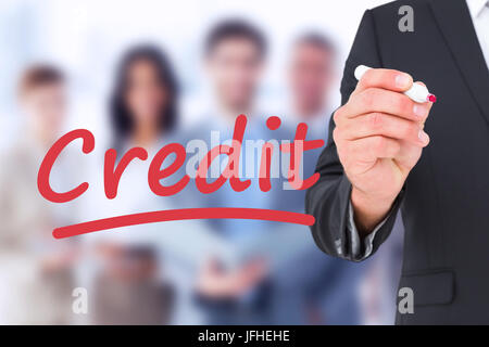 Composite image of business man writing with felt - Stock Photo
