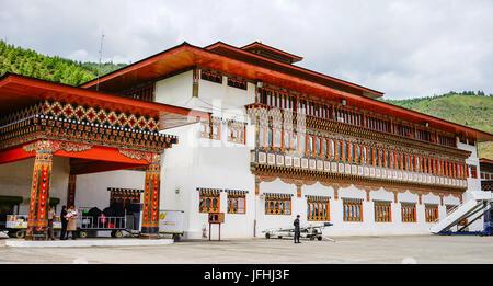 Thimphu, Bhutan - Aug 29, 2015. People at Tibetan temple in Thimphu, Bhutan. Bhutan is a landlocked country and - Stock Photo