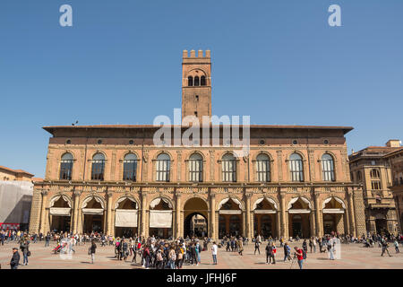 Bologna, Italy - April 22, 2017: Palace of the Podestà in the main square with tourist in Bologna (Italy) - Stock Photo