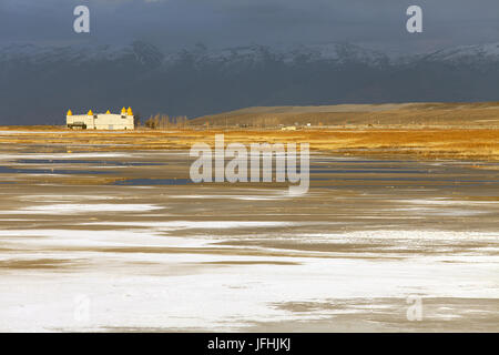 Silver Sands State Park in Salt Lake City Utah - Stock Photo