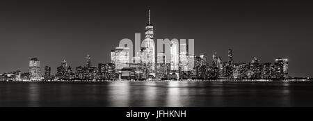 Black and White panoramic view of New York City Financial District skyscrapers. Panoramic view of Lower Manhattan - Stock Photo