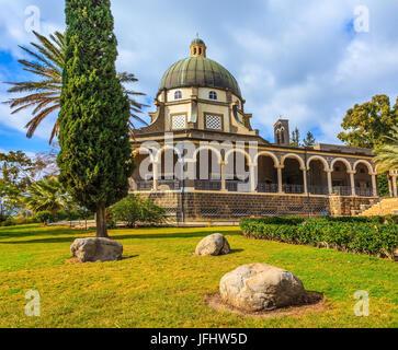 Basilica of the monastery of Mount Beatitudes - Stock Photo