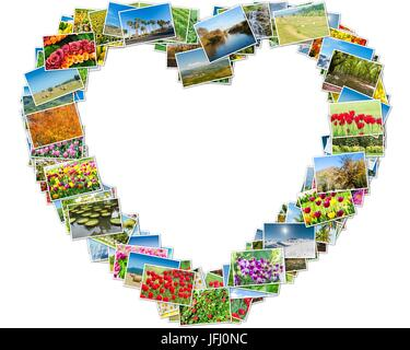 Various nature photos arranged in heart frame - Stock Photo