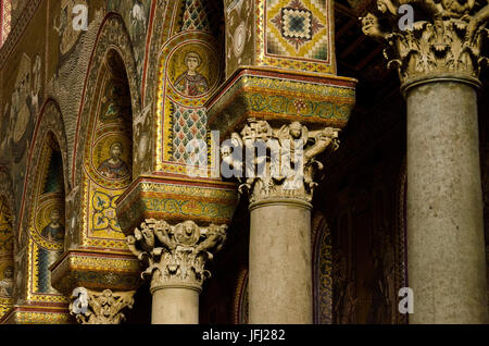 Italy, southern Italy, Sicily, Sicilia, Palermo, Monreale, cathedral Santa Maria Nuova - Stock Photo
