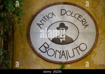 Italy, southern Italy, Sicily, Sicilia, province of Ragusa, Modica, sign, ZTeichen, chocolate specialities anti - Stock Photo