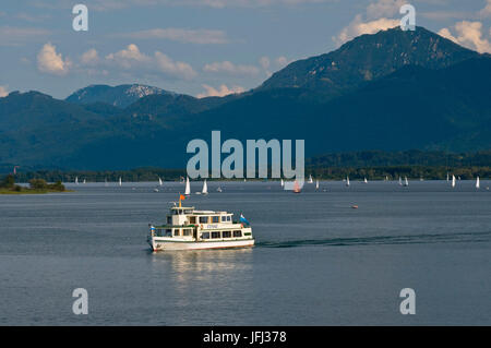 Europe, Germany, Bavaria, Lake Chiemsee, Chiemgau, Prien-Stock, holiday ship, Chiemgauer mountains, - Stock Photo
