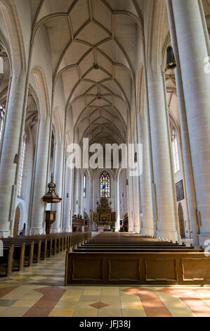 Europe, Germany, Bavaria, Ingolstadt, Cathedral of Our Lady, interior shot, view to the altar, - Stock Photo