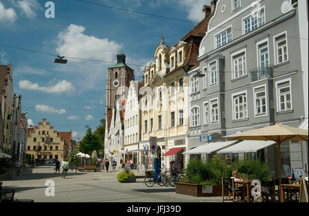 Europe, Germany, Bavaria, Ingolstadt, Theresienstrasse, view to the Cathedral of Our Lady, - Stock Photo