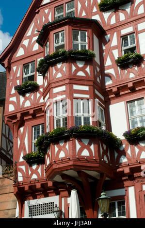 Europe, Germany, Bavaria, the Main, Miltenberg (village), marketplace Schnatterloch, half-timbered house with bay - Stock Photo