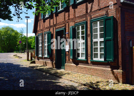 Europe, Germany, Mecklenburg-West Pomerania, Teterow, old half-timbered house in the town mill, - Stock Photo