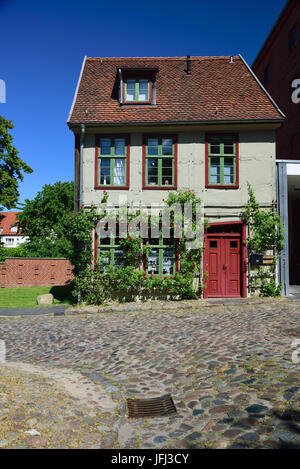 Europe, Germany, Mecklenburg-West Pomerania, Teterow, old small half-timbered house in the town mill, - Stock Photo