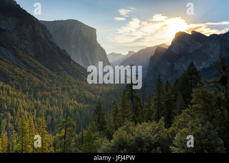 View in the Yosemite Valley, the USA, California - Stock Photo