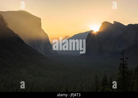 Golden light in the Yosemite national park, the USA, California - Stock Photo