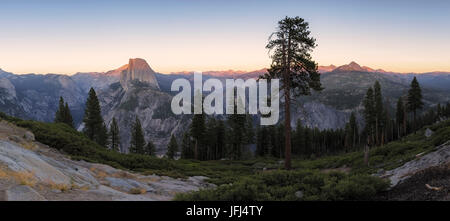Panoramic view at the Half Dome and environment, Yosemite national park the USA, California - Stock Photo