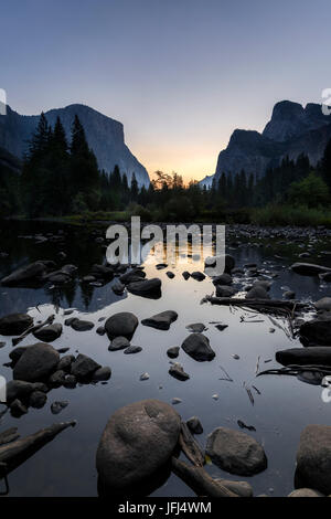 Sunrise in the Merced River, the USA, California, Yosemite Valley - Stock Photo