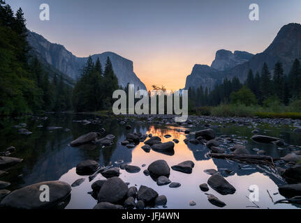 Sunrise in the Merced River, the USA, California, Yosemite Valley - Stock Photo