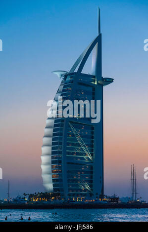 Arabia, Arabian peninsula, the Persian Gulf, United Arab Emirates (VAE), Dubai, Jumeirah Beach, Burj Al Arab - Stock Photo