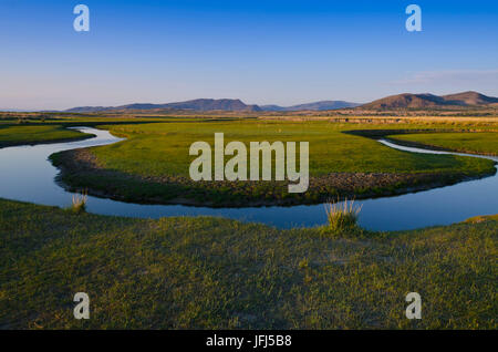 Mongolia, Central Asia, camp in the steppe scenery of Gurvanbulag, river bend - Stock Photo